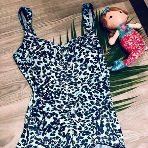 Rose Marie Reid One Piece Swimsuit Aqua Leopard
